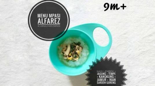 Nasi Jagung Jamur dengan Sarden Goreng (9M+)