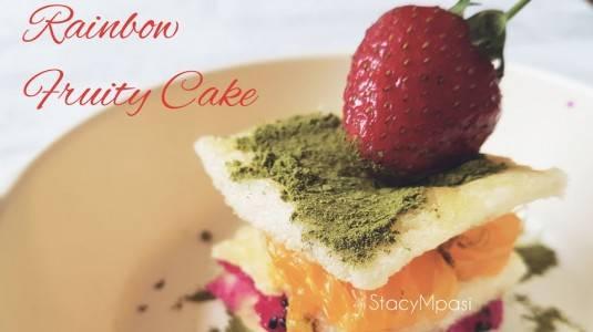 Rainbow Fruity Cake untuk si Kecil yang Sulit Makan Buah