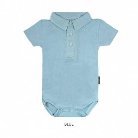 Blue Boy Collar Bodysuit Short Sleeve (jumper)