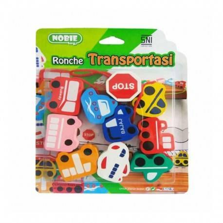 Ronche Transportasi Mainan Kayu Edukatif
