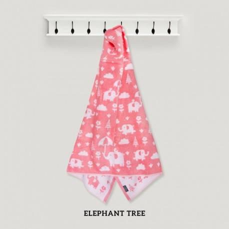 Elephant Tree Pink Hooded Towel