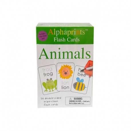 Alphaprints Flash Cards Animals Includes Wipe - Clean Pen Buku Edukasi Anak