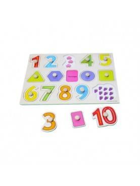 Knob Kayu Angka Puzzle Mainan Anak