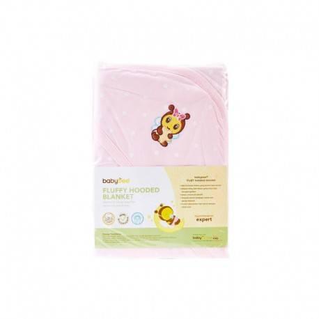 Fluffy Hooded Blanket Selimut Bayi - Polka Pink Blossom