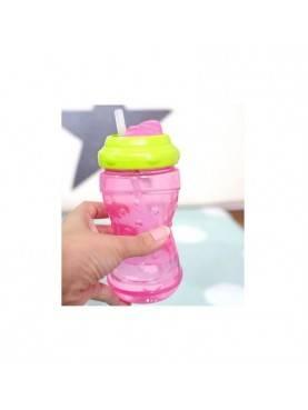Swivel Straw Bottle - Pink Green