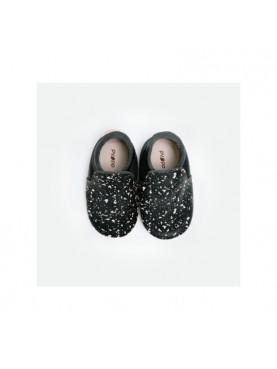 Baby Loafers - Black On Black Splash