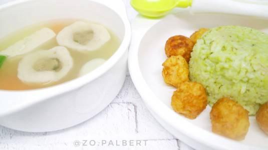 Nasi Uduk Bayam, Perkedel Keju & Sup Bakso Ikan