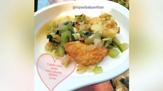 Tumis Labu Siam Tofu Udang Rebon (18 M+)