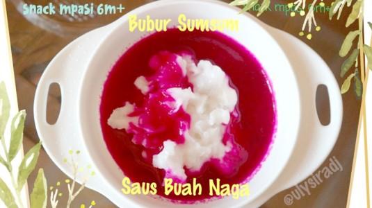 Snack MPASI 6M+: Bubur Sumsum Saus Buah Naga