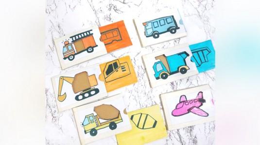 DIY Permainan Edukatif: Puzzle Slide Matching Transportation