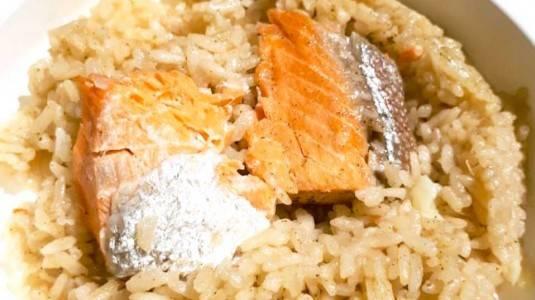 Salmon Garlic Rice Menu MPASI si Kecil